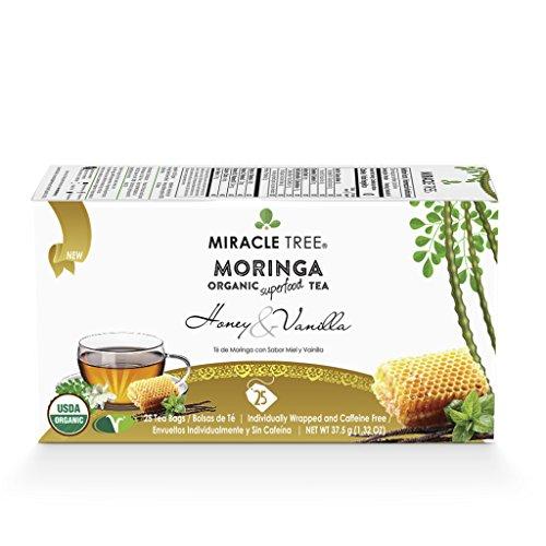 Miracle Tree - Organic Moringa Superfood Tea, 25 Individually Sealed Tea Bags, Honey & (Green Tea Organic Honey)