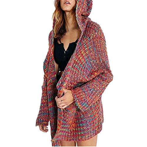 Peacur Women Hooded Knitted Sweater Cardigan Ladies Warm Autumn Winter Thick Outwear Jacket Coat Clothes (M, Red) by Peacur