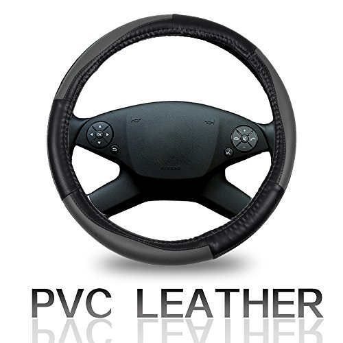 Cover 15 Inch Universal Leather - Black/Grey Car Steering Wheel Cover ()