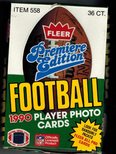 (1990 Fleer Premiere Edition football wax box with 36 packs and each pack has 15 cards. )