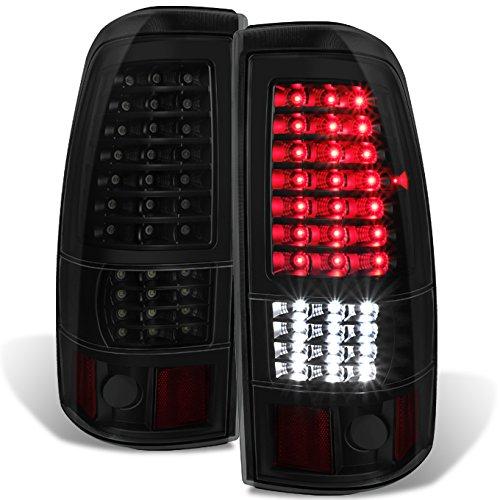 [Black Smoked - Full LED Style] Fits 1999 2000 2001 2002 Chevy Silverado   1999-2003 GMC Sierra Taillights Pair LH+RH