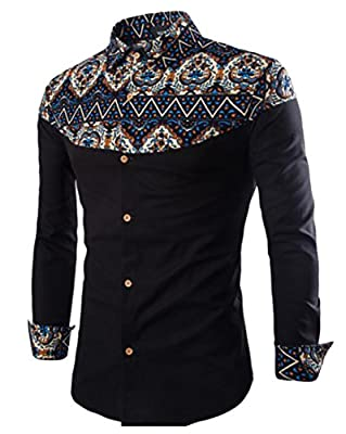 WSPLYSPJY Man Casual Printed Long Sleeve Button Down Slim Dress Shirt