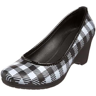 Crocs Women's Plaid Lydia Lumberjack Wedge,Black/White,4 M US
