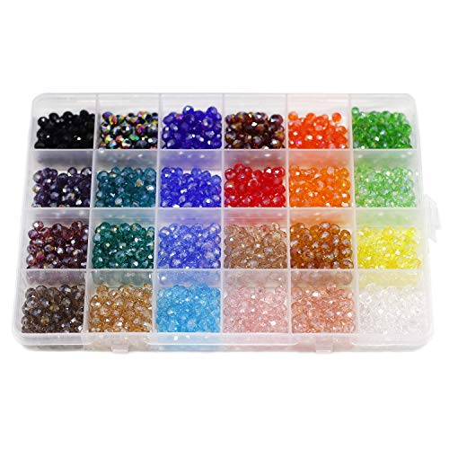 6mm Briolette Faceted AB Beads Glass Beads Crystal Spacer Beads Rondelle Shape for Jewelry Making Bracelets Necklaces Multicolor Colors with Container Box (24 Color Total ()