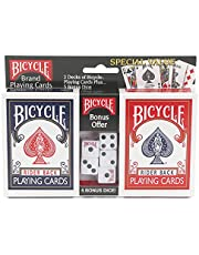 Bicycle Playing Cards 2 Deck Bundle with 5 Bicycle Playing Dice – Rider Back Standard Faces 1 Deck Red, 1 Deck Blue Plus 5