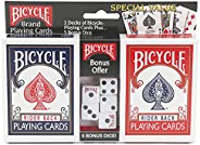 Bicycle Playing Cards 2 Deck Bundle with 5 Bicycle Playing Dice – Rider Back Standard Faces 1 Deck Red, 1 Deck