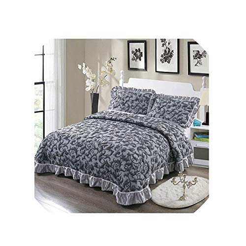 U-see-Bedding Set Gray White Luxury 3D European Style Comfortable Soft Cotton Thick Blanket Lace Bedspread Bed Sheet Pillowcases 3Pcs,5,245X260Cm 3Pcs