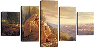 "Jesus Pictures for Wall Jesus Canvas Posters Christian Faith Wall Art Decorations 5 Pieces Retro Jesus Thorn Painting Prints Artwork for Living Room Home Wall Decor Framed Ready to Hang (60""Wx32""H)"
