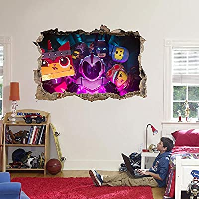 The Lego Movie 2 Decal 3D Smashed Wall Sticker Art Mural Batman Emmet Kids J1352, Large: Home & Kitchen