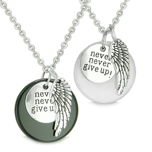 BestAmulets Angel Wing Inspirational Never Never Give Up Love Couple Yin Yang Powers Pendant Necklaces