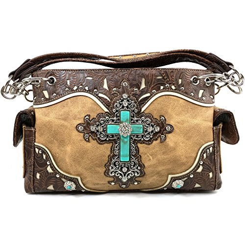 Justin West Tooled Leather Laser Cut Turquoise Rhinestone Cross Concho Studded Messenger Handbag with CrossBody Strap (Tan Handbag Only)