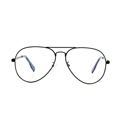 e91e56d012 Image Unavailable. AZORB Aviator Non-prescription Clear Lens Glasses  Classic Retro Metal Frame (Black ...