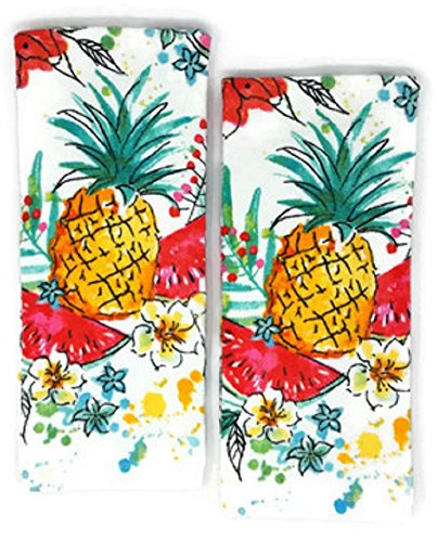 Mainstay Tropical Kitchen Towels Hawaiian Pineapple Theme, Set of 2