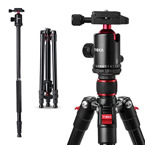Tycka Lightweight 65″ Aluminum Travel Tripod TK101, 360 Panorama Ball head (36mm diam.), 10kg Load Capacity, New Angle Adjustment Lock and Twist-lock, Comfortable and Easy to Use, for Camera Camcorder