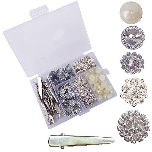 Arlai DIY 6 Styles Combination Small Clear Rhinestone Buttons Alligator Clip Crystal Glass Button Embellishments