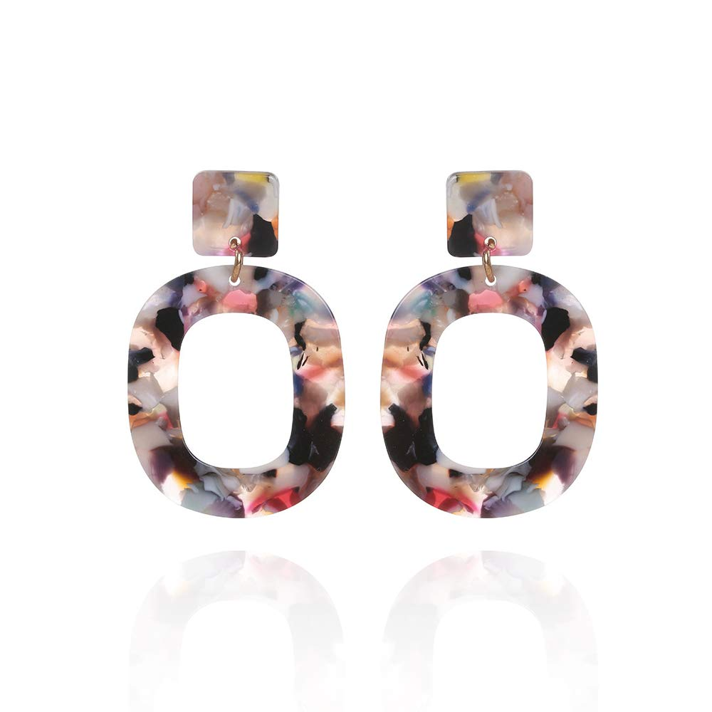 OneQuarter Acrylic Earrings Leopard Resin Hoop Stud for Women and Girls 2 Pairs Fashion Jewelry