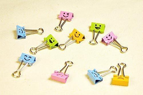 clips de metal varios colores TaoNaisi paquete de 40 bonitos sujetadores de papel con resorte para archivar caras sonrientes