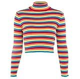 Winwinus Womens Short Turtleneck Slim Lightly Cotton Rainbow All-Match Sweater OS