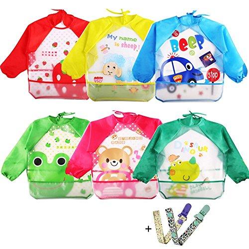 Coceca 6 Pcs Toddler Smock Baby Bibs Kids Art SmocksLong Sleeve Bibs for 1-3 Years Old Infants
