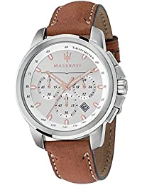 Men's 'Successo ' Quartz Stainless Steel and Leather Fashion Watch, Color:Brown (Model: R8871621005)
