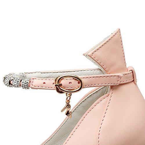 Scarpe Puro Ballet Flats Rosa Donna Fibbia Luccichio VogueZone009 Punta Tacco A Alto qUzwCE8n