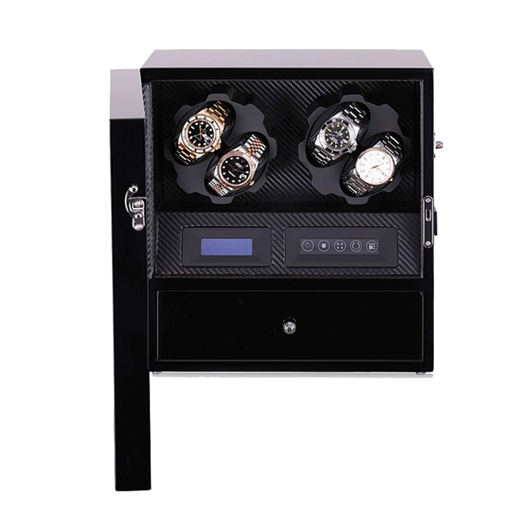 WCX Trä automatisk klocka vinnare, 6 slingrande utrymmen träskal drivs av japansk motor, inbyggd LED-belysning för 9 automatiska klockor a