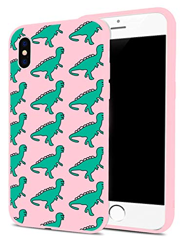 Fashion Cute Cartoon Dinosaur Pattern Design Printed Case for iPhone 6 Plus/6s Plus, MAYCARI Soft Full Protective Slim Pink Rubber Drop Protection for Girls Women