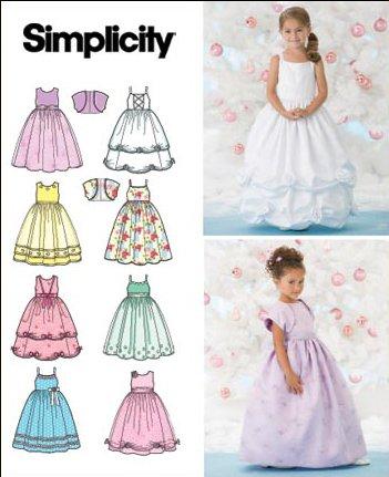 Simplicity Schnittmuster 7108 AA Kleinkinder Kleid & Bolero Gr. 3-6 ...