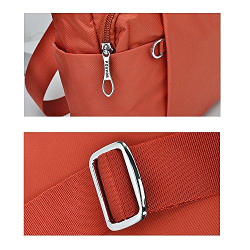 Purse Multi Crossbody Nylon 278603 Pocket Oakarbo Travel Bag Red Shoulder OT7qwn