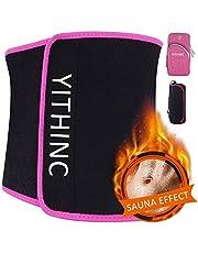 YITHINC Bauchgürtel Fettverbrennung, Schwitzgürtel Abnehmen Verstellbarer Fitnessgürtel für Fettverbrennung Sauna Premium- mit Multifunktionsarmband für Männer und Frauen