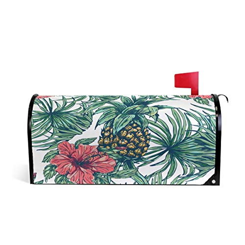 (WOOR Tropical Pineapple Magnetic Mailbox Cover MailWraps Garden Yard Home Decor for Outside Oversized-25.5