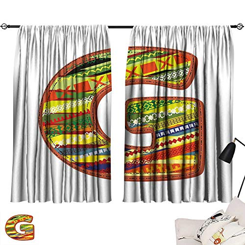 (Warm Family Curtain tiebacks Letter G,G Letter Character Language System Learning College Surname Red Calligraphy Design,Multicolor 84