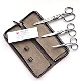 DOVO 3-Pc. Complete Scissor Set w/Leather Zipper Case, Solingen Germany,