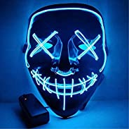 Moonideal Halloween Light Up Mask EL Wire Scary Mask for Halloween Festival Party Sound Induction Twinkling wi