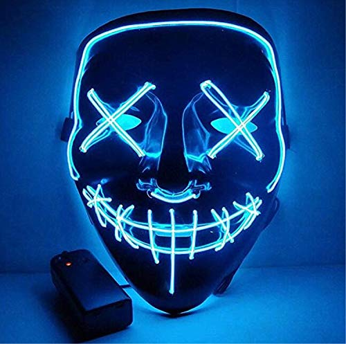 Moonideal Halloween Light Up Mask EL Wire Scary Mask for Halloween Festival Party Sound Induction Twinkling with Music Speed (Light Blue)