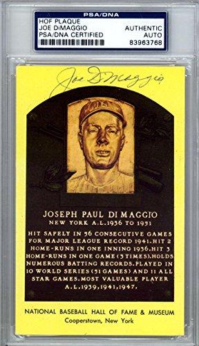 Joe DiMaggio Authentic Autographed Signed HOF Plaque Postcard #83963768 PSA/DNA Certified MLB Cut Signatures
