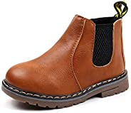 Unitysow Boy's Girl's Baby's Casual British Waterproof Side Zipper Ankle Boots Plush Inside Snow B