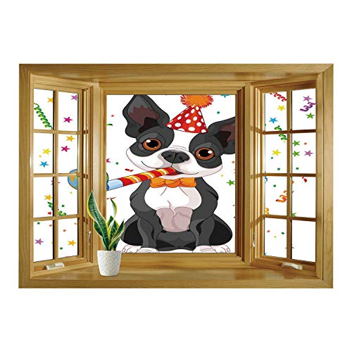 SCOCICI Removable 3D Windows Frame Wall Mural Stickers/Birthday Decorations for Kids,Black and White Boston Terrier with Colorful Party Backdrop,Multicolor/Wall Sticker Mural