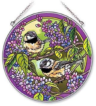 Amia 5580 Handpainted Glass Chickadee Suncatcher, 6-1/2-Inch