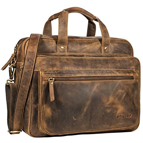 STILORD 'Walt' Vintage Aktentasche Leder Herren Damen Lehrertasche XL groß Büro Business Umhängetasche für 15,6 Zoll Laptop Echt Leder, Farbe:mittel - braun