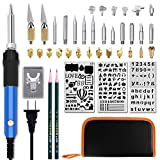 Wood Burning Kit, 43 Pcs Woodburner Set with with Pyrography Pen Include Various Wood Embossing/Carving/Soldering Tips for Wood Burning/Carving/Embossing/Soldering with Carrying Case