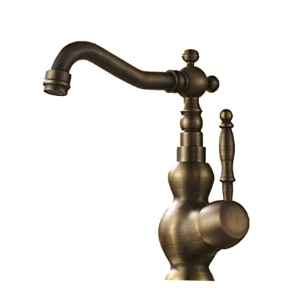 Peachy Hiendure Vintage Antique Brass Rotary Single Level Single Hole Kitchen Sink Mixer Tap Bathroom Sink Mixer Taps Interior Design Ideas Clesiryabchikinfo