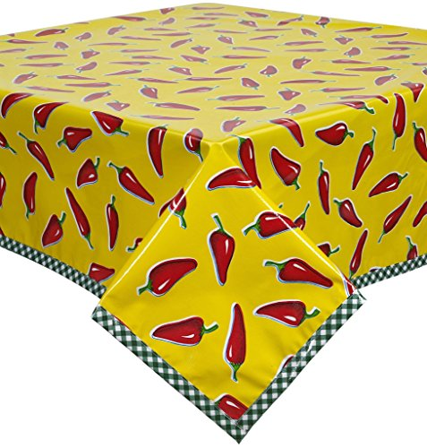Chili Peppers on Yellow Oilcloth Tablecloth with Green Gi...