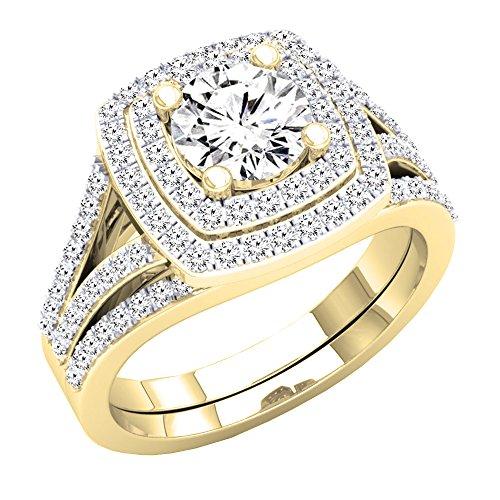 Dazzlingrock Collection 2.70 Carat (ctw) 10K Round Cubic Zirconia Ladies Bridal Engagement Ring Set, Yellow Gold, Size 7
