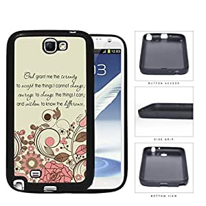 God Serenity Courage Quote With Pink Floral Pattern Rubber Silicone TPU Cell Phone Case Samsung Galaxy Note 2 II N7100