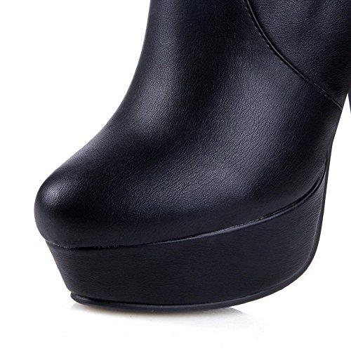 AllhqFashion Mujeres Material Suave Sin cordones Puntera Redonda Tacón Alto Caña Alta Botas Negro