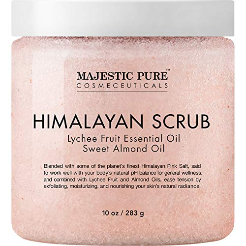 Majestic Pure Himalayan Salt Body Scrub with Lychee Essential Oil, All Natural Scrub to Exfoliate & Moisturize Skin, 10 Ounce (Pack of 1) (Best Natural Body Care Products)