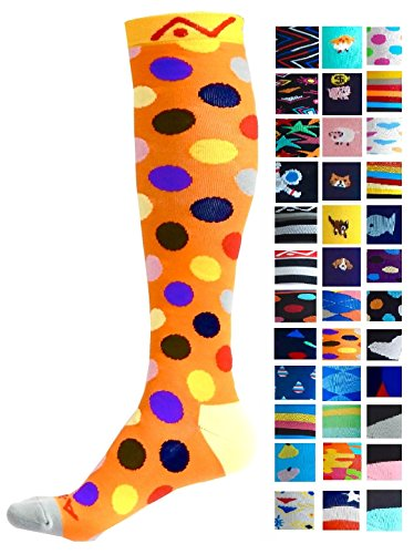 Compression Socks (1 pair) for Women & Men (Dazzling Dots, L/XL)