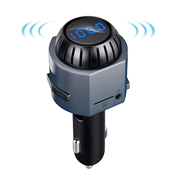 Bluetooth FM Transmitter For Car With 5W Speaker LUTU Wireless Radio Adapter In