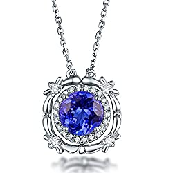 White Gold Natural Tanzanite Diamond Necklace Pendant